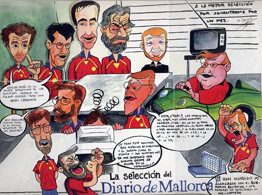Caricatura realizada al staff del Diario de Mallorca (1999?)